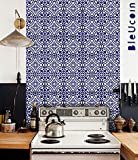 Bleucoin Portugal Terracotta Inspired Tile stickers, Kitchen and Bathroom Backsplash Tile Decal, Stair Riser Stickers,Peel & Stick Home Decor (4'' x 4'' Inches (Pack of 44), Blue)