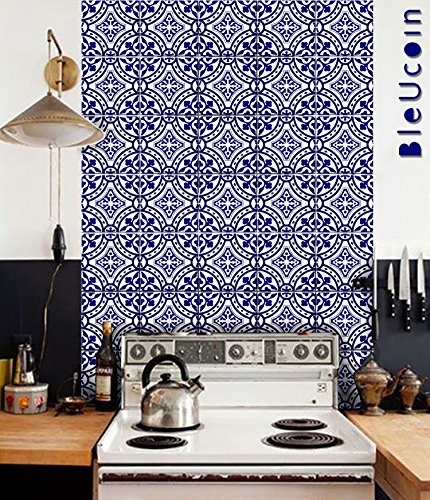 Bleucoin Portugal Terracotta Inspired Tile stickers, Kitchen and Bathroom Backsplash Tile Decal, Stair Riser Stickers,Peel & Stick Home Decor (4'' x 4'' Inches (Pack of 44), Blue) by Bleucoin
