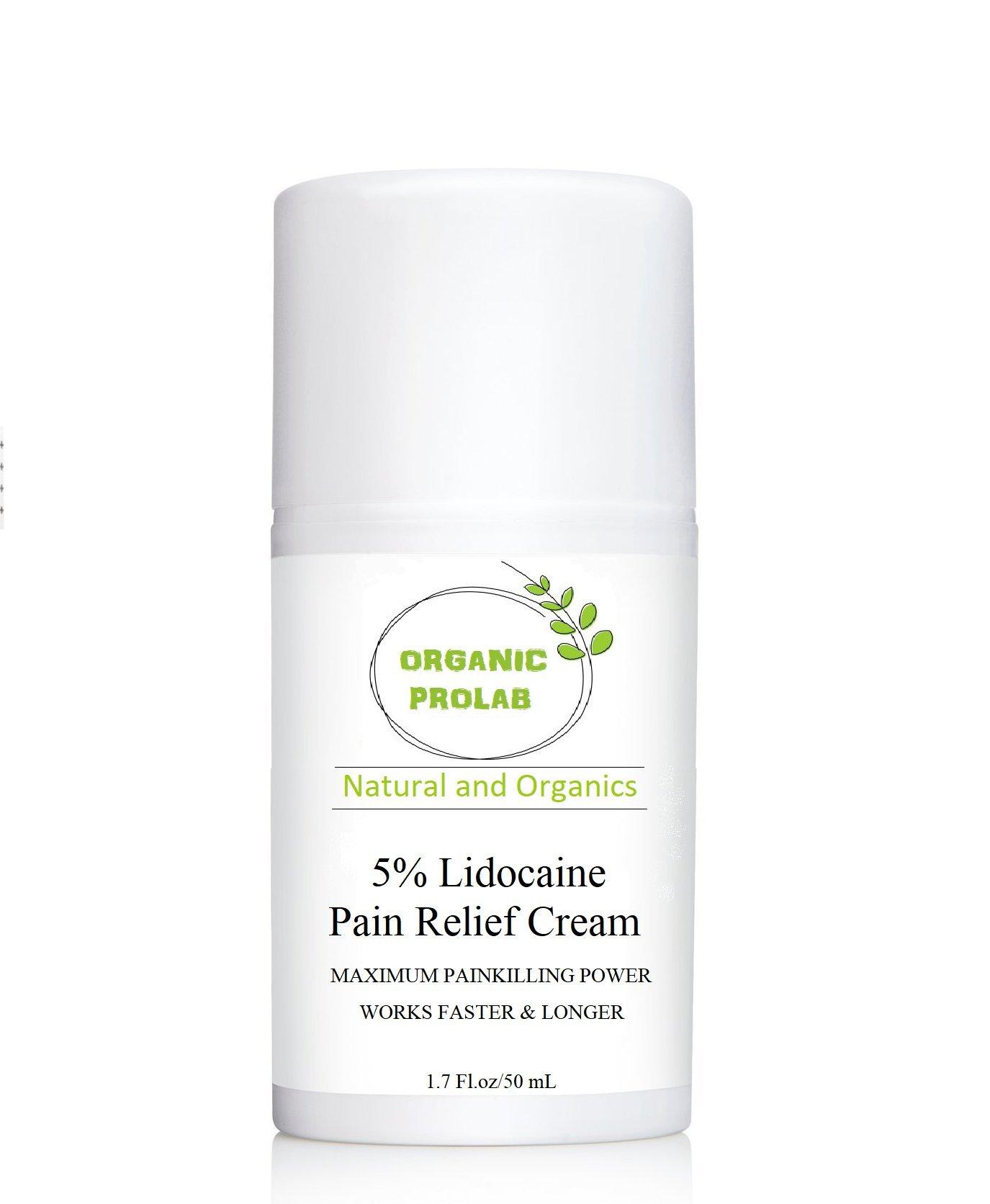 ORGANICPROLAB, 5% Lidocaine Pain Relief Cream, 1.7 Fl.oz/50m