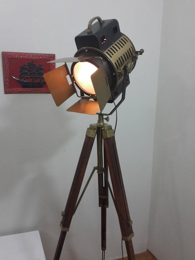 Vintage Studio Theater Spot Light Designer Antique Tripod Search Light Spot Lamp by NAUTICALMART