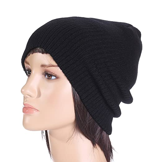 856f18071f7 Eliffete Women Black Warm Skull Cap Baggy Chunky Braided Beanies Hats for  Girls