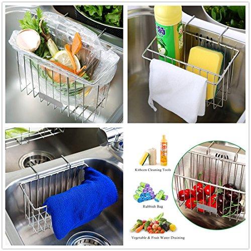Kitchen Sink Caddy Sponge Holder, Dullrout Slim Sink Organization Basket for Kitchen Accessories, Sponges, Dish Brushes- Stainless Steel (1PK)