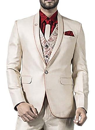 INMONARCH Hombres 6 Pc Beige clásico traje esmoquin un botón ...