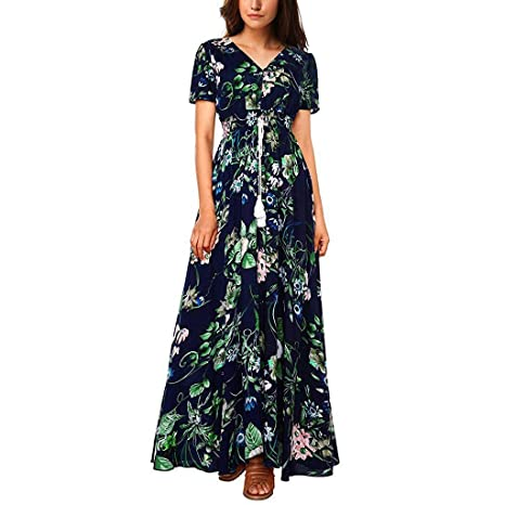 Vestido Verano Mujer 2019 Vestido De Moda Estampado Floral Vestido Largo con Manga Corta para Mujer Vestidos De Fiesta Mujer Tallas Grandes Vestido De ...
