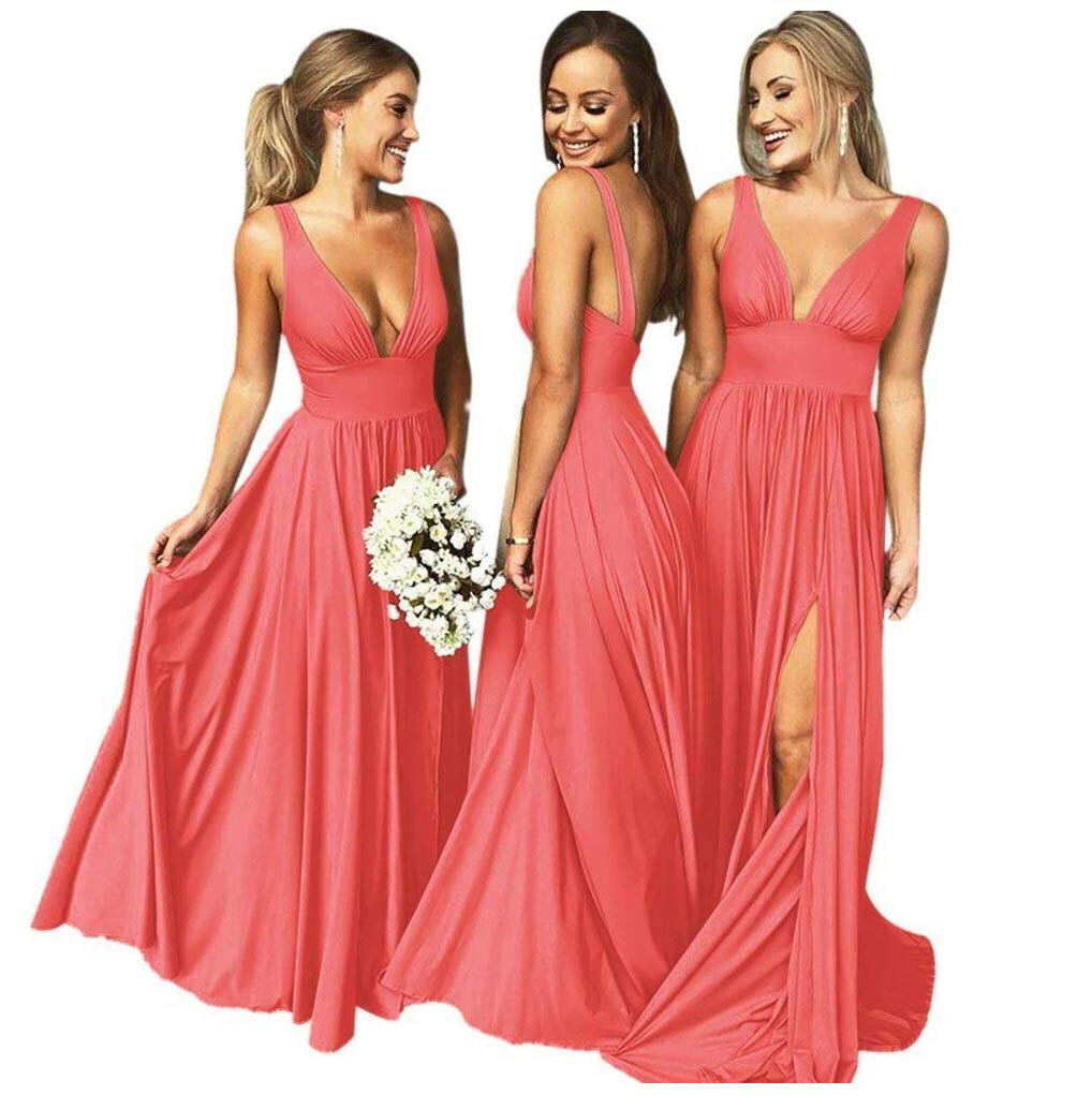 Coral Wedding Gowns: Bridesmaid Dresses Long V Neck Backless Split Beach