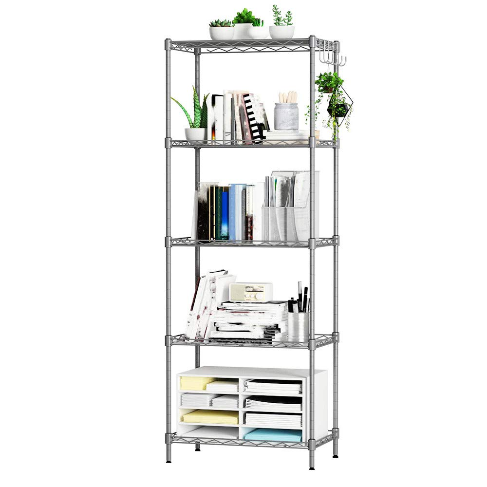 Quelife Shoe Kitchenwear Storage Rack Microwave Oven Holder Wheeled 5-Shelf Trolley Multifunctional Shelf Cart -55x30x158cm by Quelife (Image #4)