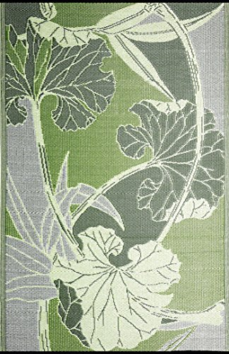 RV Mat Patio Mat (9 ft x 12 ft) Blossom, Reversible design in Green and Grey for under the Awnings or Outdoor Area Rug - by b.b.begonia - Blossom Green Rug