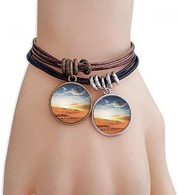 DIYthinker Blue Sky Viaje Ruta de la Seda Camel Desierto Pulsera Doble de Cuero Cuerda: Amazon.es: Joyería