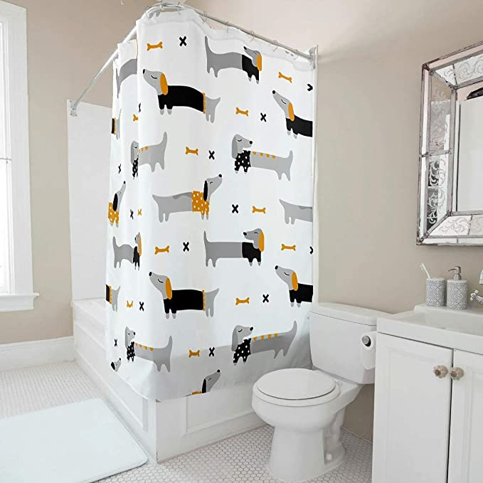 Sweet Luck Cartoon Dachshund Shower Curtain Anti Mould Waterproof Polyester Beautiful Curtain With Hooks For Bathroom White 120 X 200 Cm Amazon Co Uk Kitchen Home