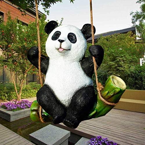 屋内噴水風水装飾品庭の像庭の庭彫刻動物の樹脂樹脂パンダヤードと庭の動物像
