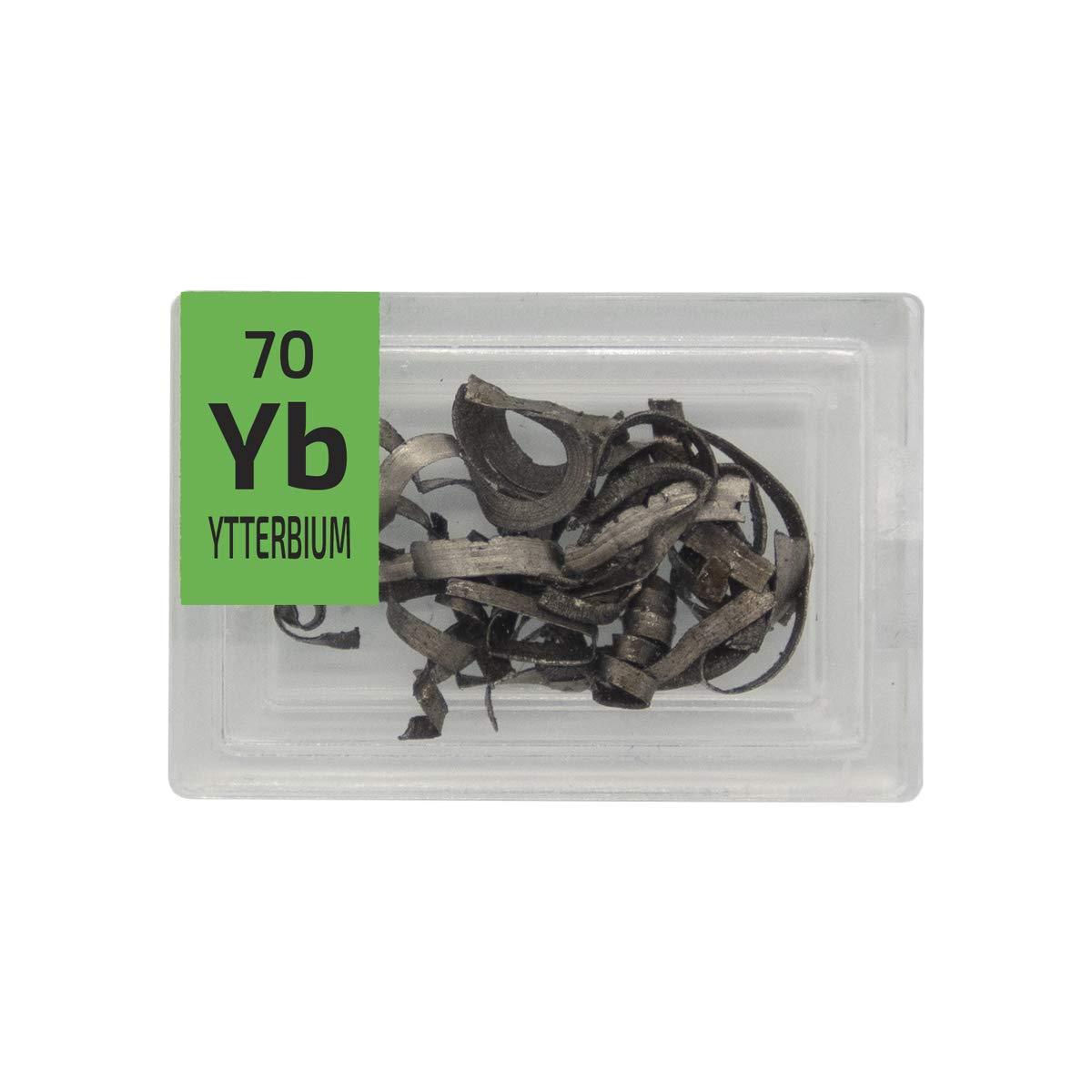 Ytterbium Metal Rare Earth 99.9/% Pure Turnings Element Sample in a Mini PEGUYS Periodic Element Tile