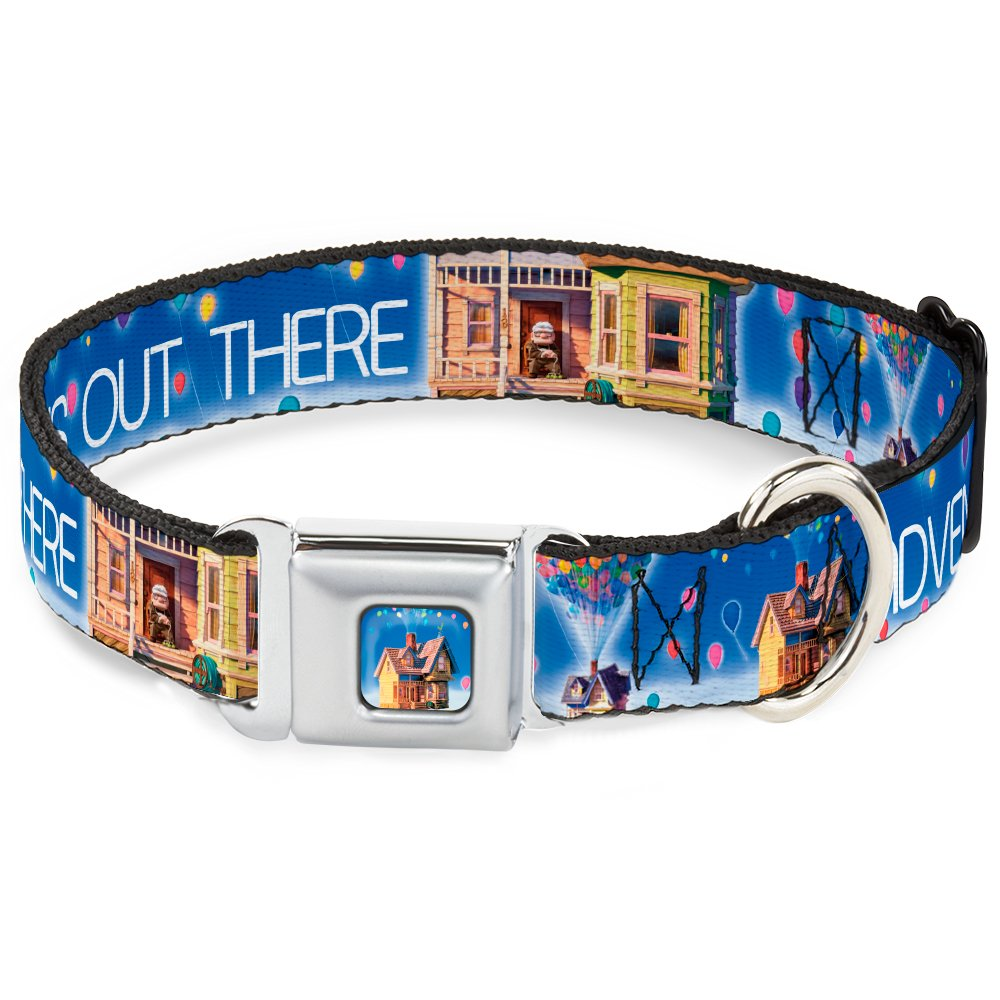Buckle-Down Seatbelt Buckle Dog Collar Adventure is Out There Carl on Porch Flying House Balloons bluees White Multi color