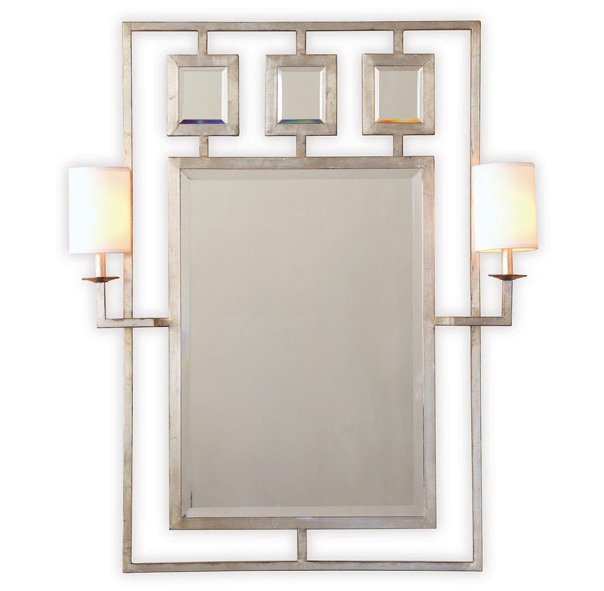 Park Avenue Hollywood Regency Silver Leaf Mirror With Sconces