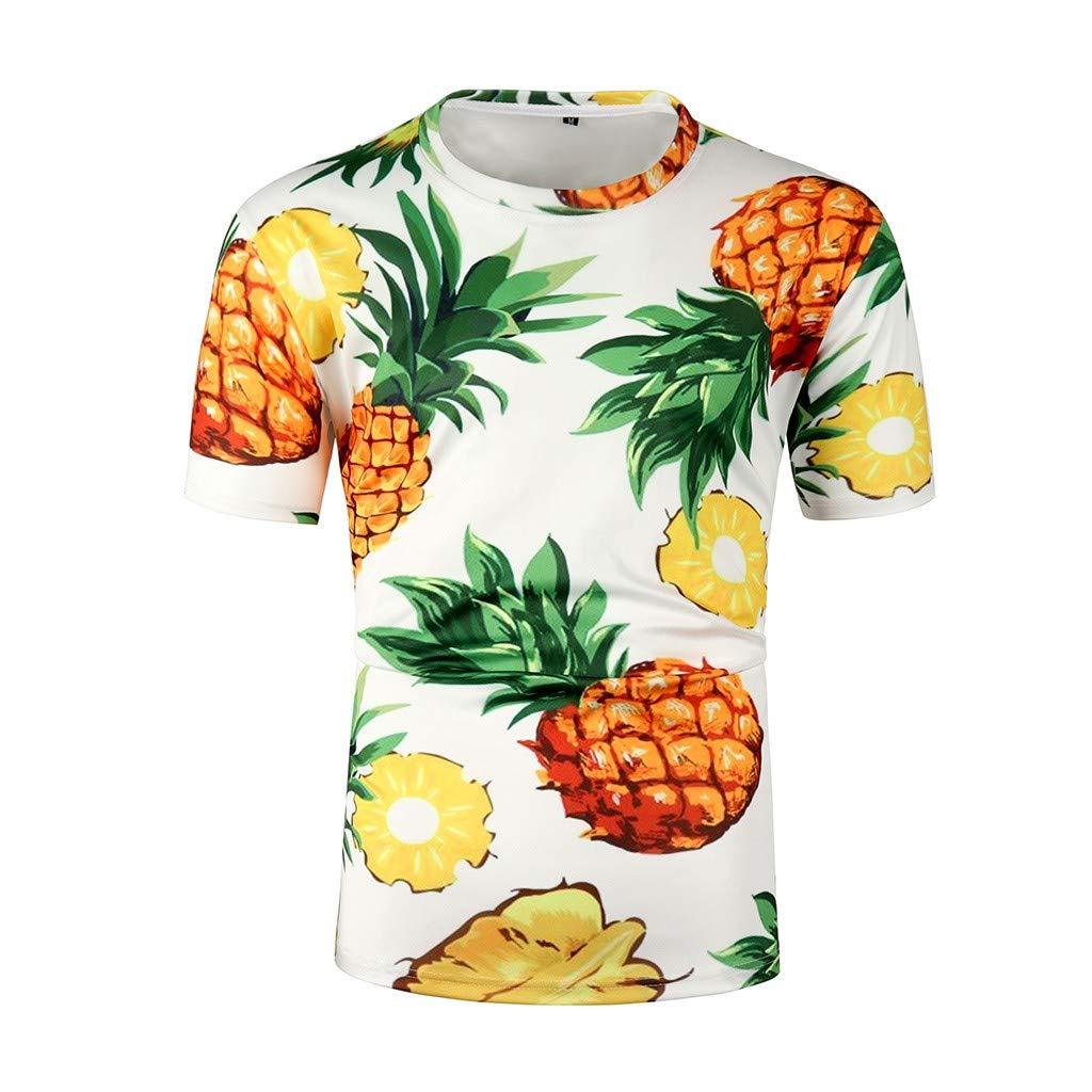 Gladdon v/êtements Homme ete Nouveaux Hommes col Rond Slim Casual 3D Print Colorful Sports Short Shirt Shirt Top
