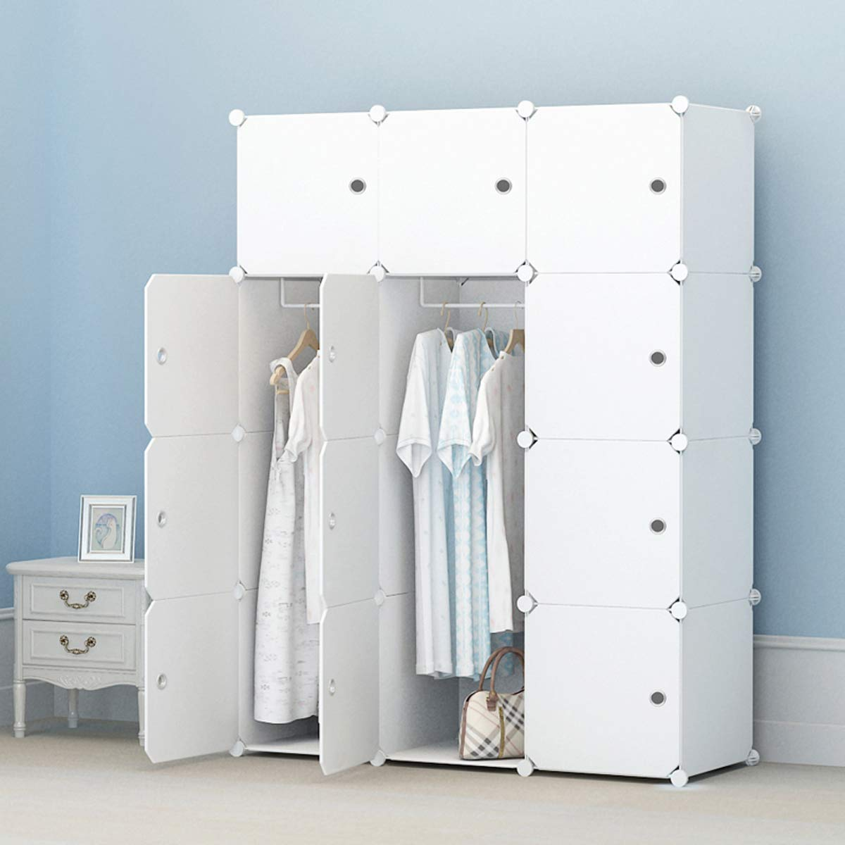 COLESHOME Portable Wardrobe Storage Organizer Cube Armoire Modular Cabinet for Space Saving for Bed Room Living Room (6 Cube 2 Hanger, White) by COLESHOME