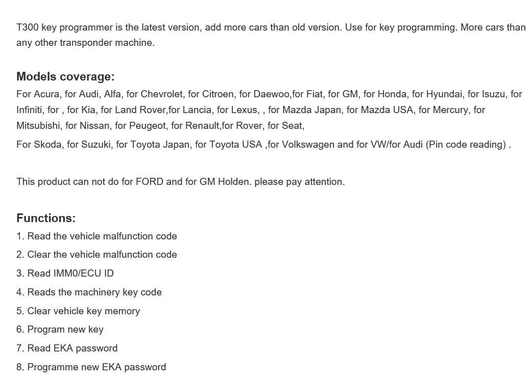 T-Code Key Programmer T300 key pro auto key tool car key copy tool