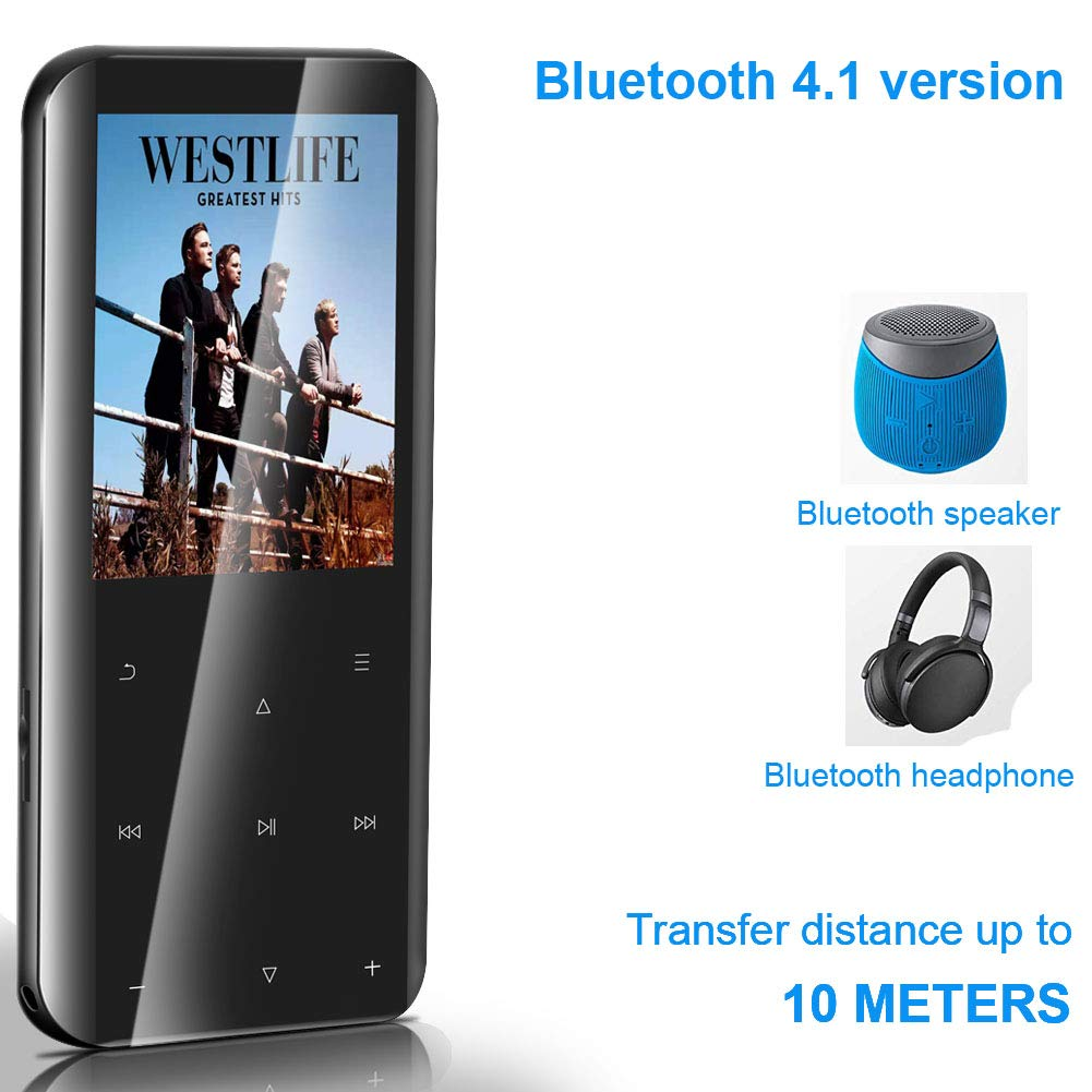 Touch Button MP3 Music Player with FM Radio//Pedometer//Voice Recorder//Video Play//E-Book Build in Hi-Fi Sound Speaker 16GB MP3 Player with Bluetooth 4.1 Expandable up to 64G SD Card MP3 Player