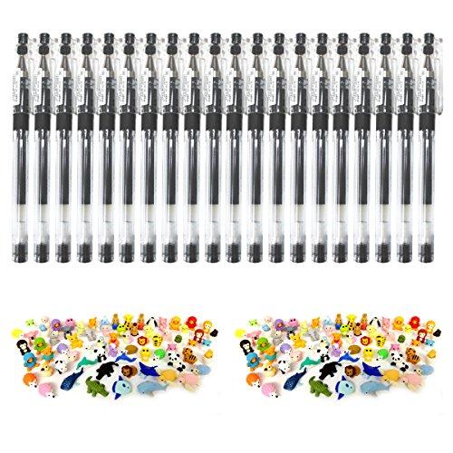 Iwako Erasers Animal Overstock (Pack of 20)×2 plus Pilot Hi-tec-c Gel Rolling Ball Pens, Ultra Fine Point,rubber Grip Type,-0.3mm-black Ink-value Set of 20