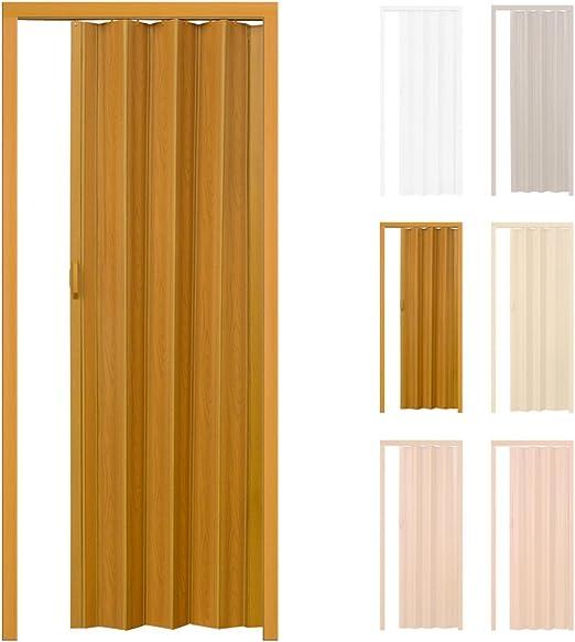 TecTake Puerta plegable de plástico PVC Puertas plegables Puerta corredera 80 x 203 cm nogal con cierre magnético: Amazon.es: Hogar