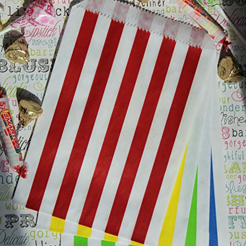 Rainbow Party Treat Bags with Stickers, Assorted Red, Orange, Yellow, Green, Blue and White Rainbow Stripe Party Favor Bags, 5.5