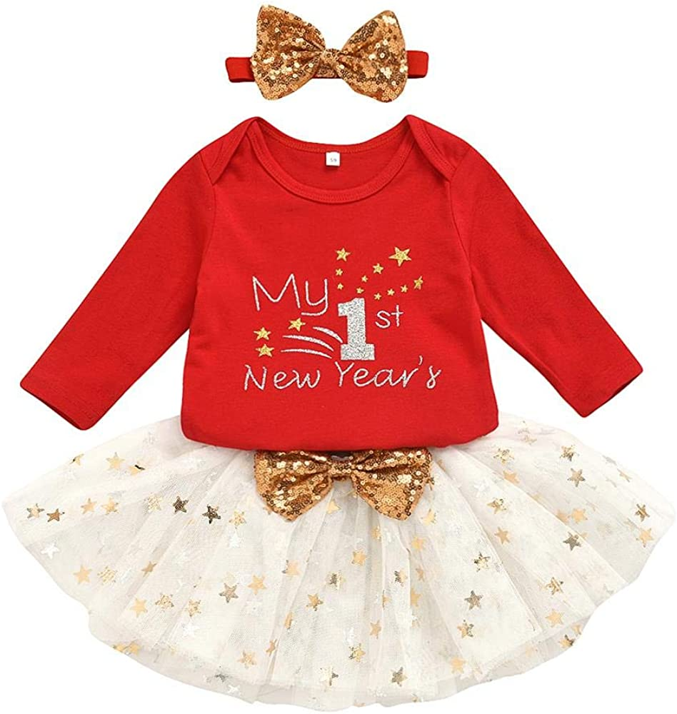 Toddler Baby Girls Outfits Set Little Kids T-Shirt Top Tutu Skirt with Headband Clothing for My 1st 2021 New Year