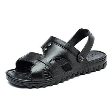 Herren Pantoletten Gemütlich Peep-Toe Offenen Atmungsaktiv Klettverschluss Entspannt Rundzehen Gummi Sohle Sandaletten Schwarz 39 EU am6mRWZMN