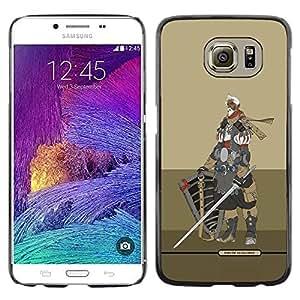 LECELL--Funda protectora / Cubierta / Piel For Samsung Galaxy S6 SM-G920 -- Knight Warrior Beige Armor Sword --