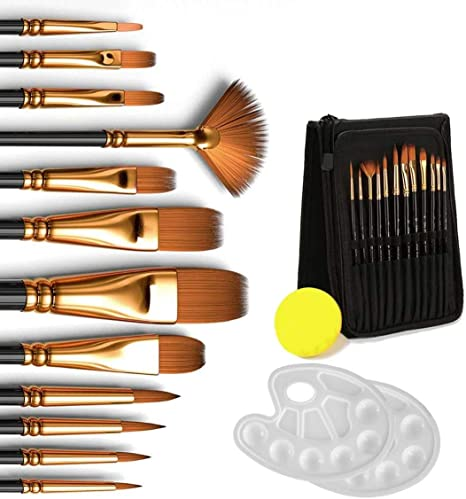 12 Artist Brush Brushes with Zip Case Pouch Round /& Flat Tip Size 2 4 6 8 10 12