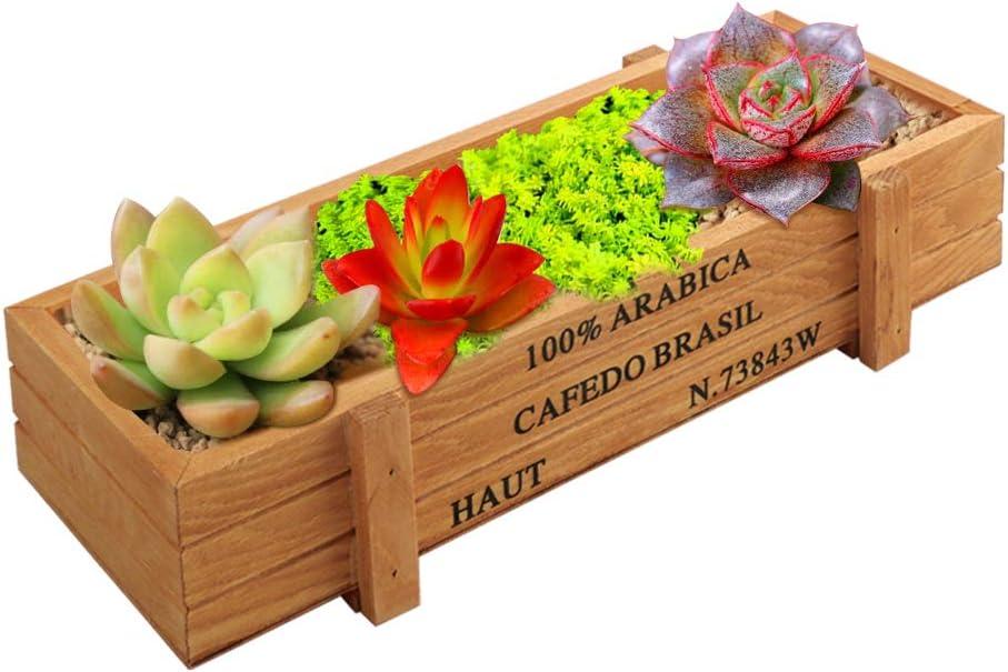 VINFUTUR Caja Madera Plantas Maceta Madera Rectangular Suculentas Macetero Madera Jardinera Rectangular para Jardín Casa Cocina Oficina 22.4 * 8.5 * 4.8cm(Kit A)