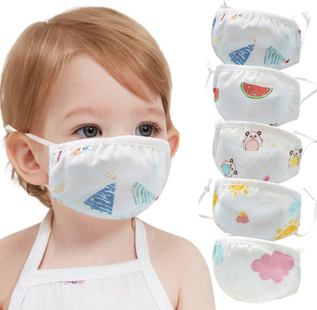 Nepdome Cartoon Face Bandanas Covering for Boys Girls Cute Mouth Shield Filter Reusable Comfortable Breathable