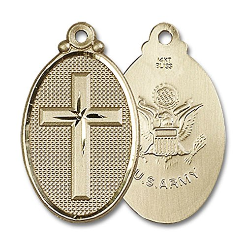 Bonyak Jewelry 14kt Yellow Gold Cross/Army Medal 1 1/4 x 5/8 inches