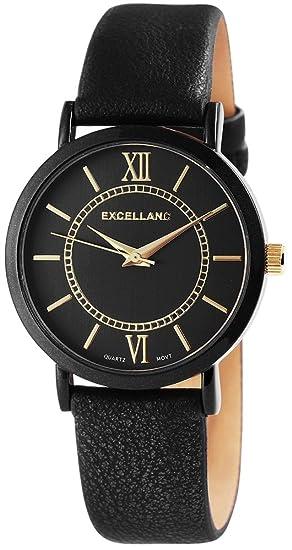 Reloj mujer Negro Oro números romanos Titanio Cuero Reloj de pulsera