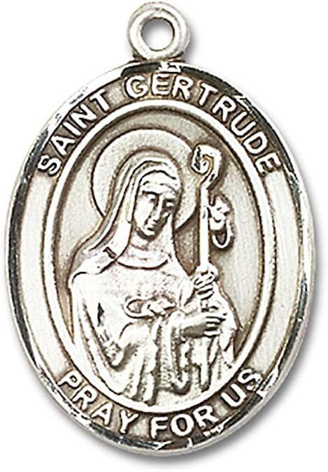 Bonyak Jewelry St Gertrude of Nivelles Hand-Crafted Oval Medal Pendant in Sterling Silver