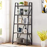 BON AUGURE Industrial Ladder Shelf, Rustic 5 Tier Leaning Bookshelf, Wood Metal Ladder Bookcase (Dark Gray Oak)