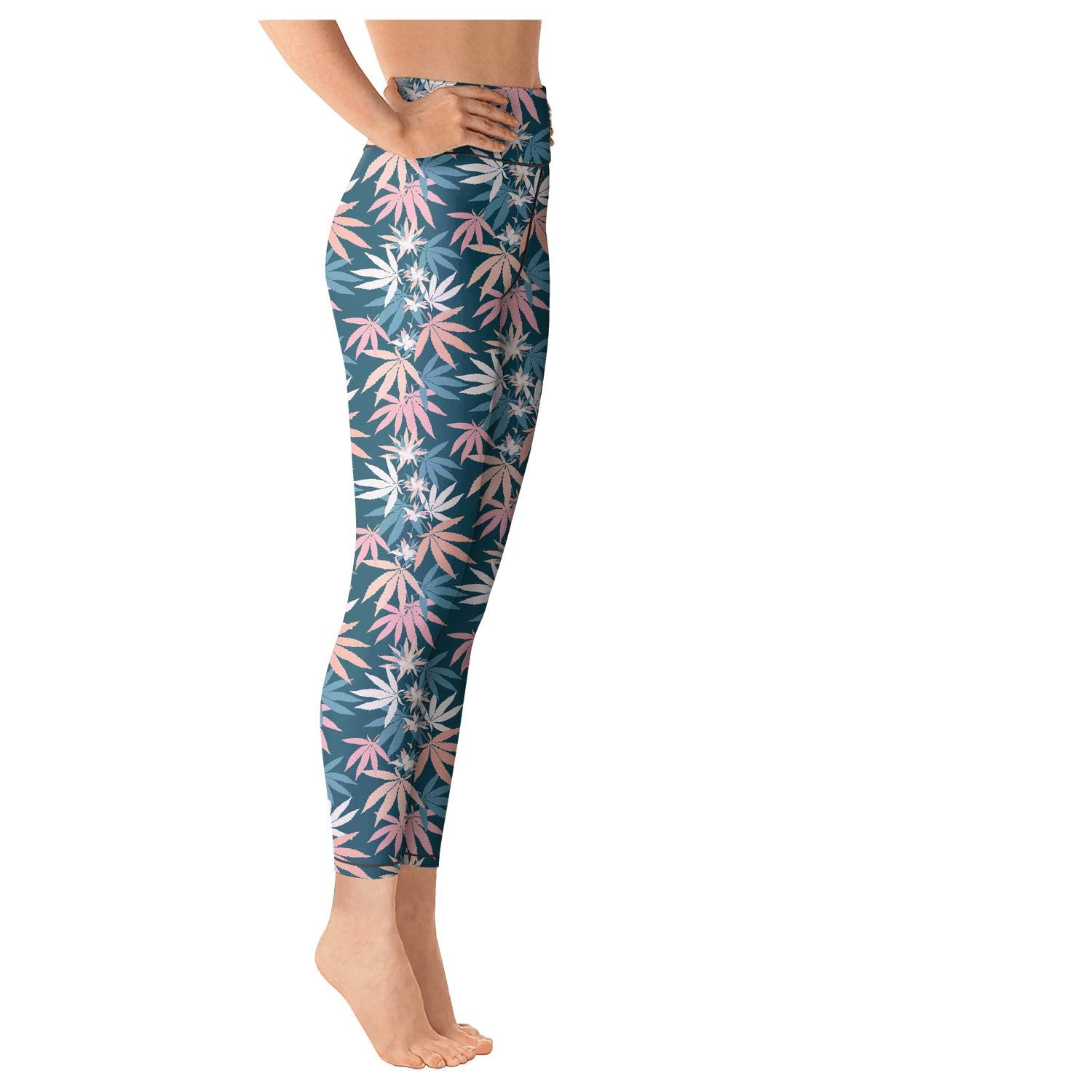 AugGThomas Womens pet Cannabis Painting Workout Running Leggins Tummy Control Gym Yoga Pants with Pockets