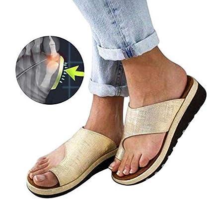 3f2137ce Sandalias De Mujer Cómodos Plataformas Plana Cuero De PU Zapatillas  Corrector De Juanetes Ortopédico Casuales Antideslizante