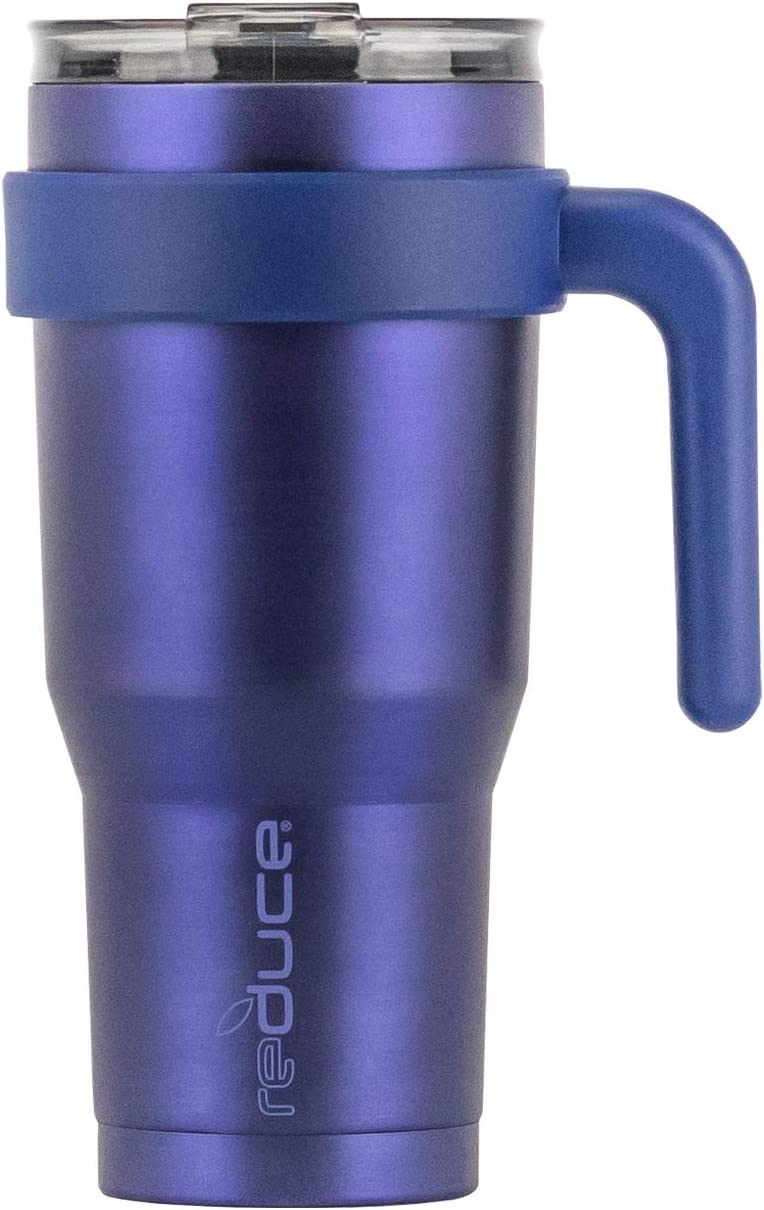 reduce Hot-1 Vacuum Insulated Thermal Travel Mug for Tea/Coffee, 24 oz – Take Your Warm Drink on the Go – Stainless Steel Cup with Handle and Lid, Fits in Car Cupholder – Sapphire
