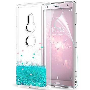 LeYi Funda Sony Xperia XZ2 Silicona Purpurina Carcasa con HD Protectores de Pantalla,Transparente Cristal Bumper Telefono Gel TPU Fundas Case Cover ...