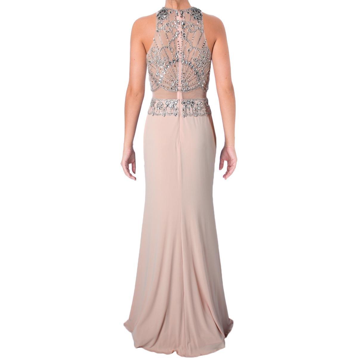 JVN by Jovani Womens Rhinestone Beaded Formal Dress - Beige -: Amazon.co.uk: Clothing