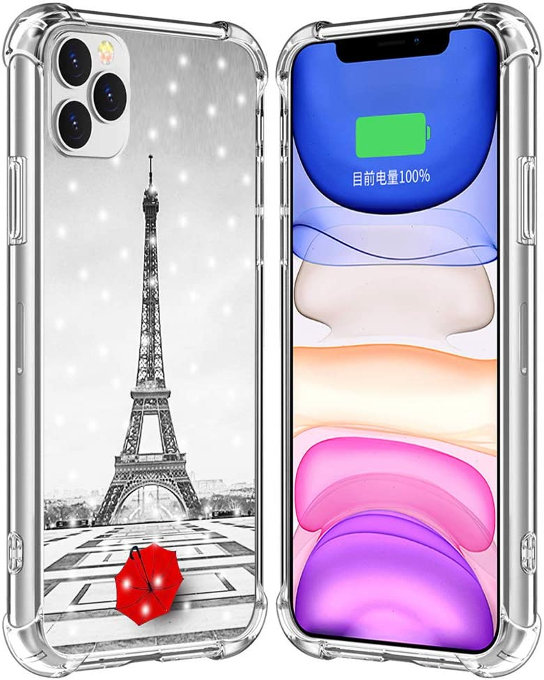 Case for iPhone 12 Pro Eiffel Tower/IWONE Rubber Durable Protective Skin Cover Shockproof Compatible for iPhone 12/12 Pro 5G 6.1 Inches Get Lost in Paris Creative Romantic Eiffel Tower Design