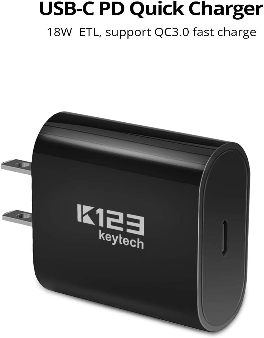Black Huawei and More K123 Keytech 18W USB C PD Charger Type C Power Delivery 3.0 Wall Charger Adapter for iPhone Xs//Max//XR iPad Pro 2018 LG Galaxy S9//S8 Pixel 3//2//XL