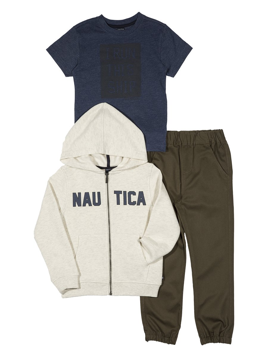 Nautica Boys Fleece Logo Hoodie, Tee and Twill Jogger N230G51Q