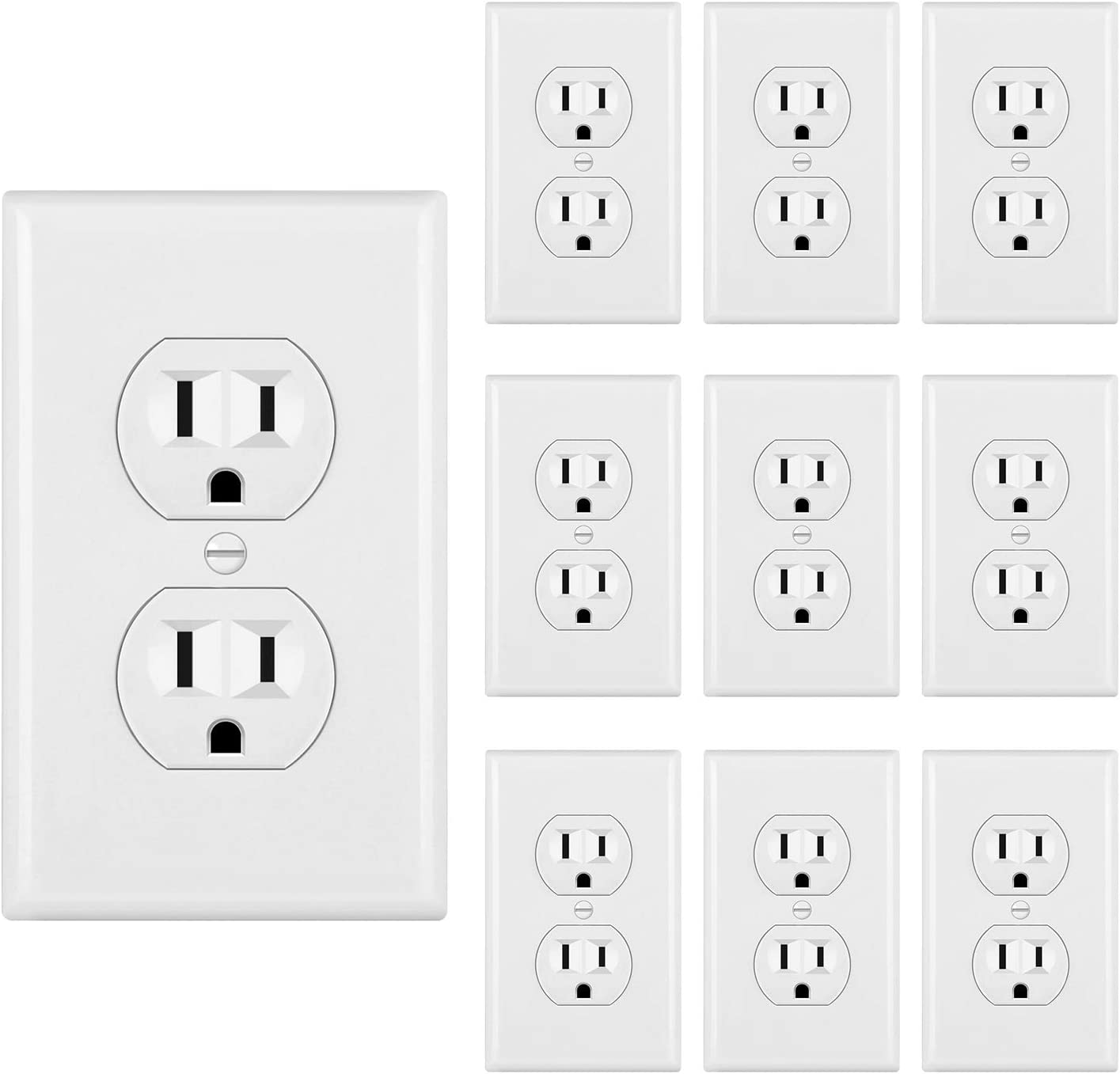 [10 Pack] BESTTEN UL Certified 15A Duplex Receptacle Outlet, 15A/125V/1875W, Commercial Grade, White - -