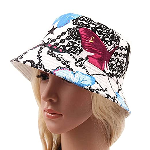 Amazon.com  Meiyuan Women Girls Bohemian Style Printing Bucket Hat Outdoor  Travel Sun Hats Cap Beanies  Clothing bea93215ad3