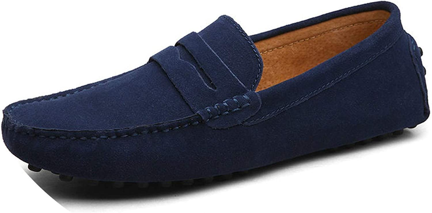 Men Casual Shoes Men Shoes Genuine Leather Men Loafers Moccasins Slip On Mens Flats Male Driving Shoes,01 Dark Blue,10