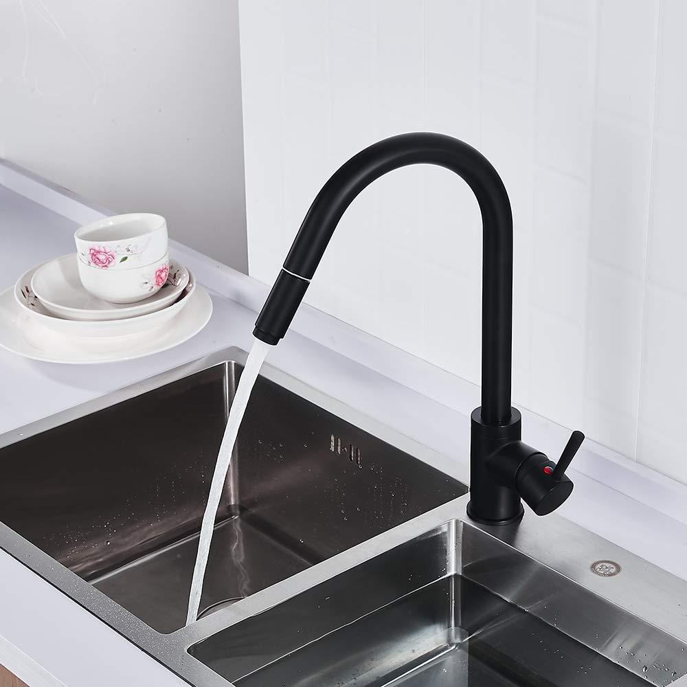 Der Hei/ßes Und Kaltes Wasser Dreht Wasserhahn Und Spr/üher Herausziehen Flexibler Biegsamer Hahn des Hahnes 360 /° K/üchenwasserhahn