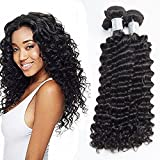 natural wave grease - Verna Hair 4 Bundles Deep Wave Hair Extensions Brazilian Virgin Hair 8a Grade Unprocessed Human Hair Wave Natural Color Can Be Dyed and Bleached(10 12 14 16)