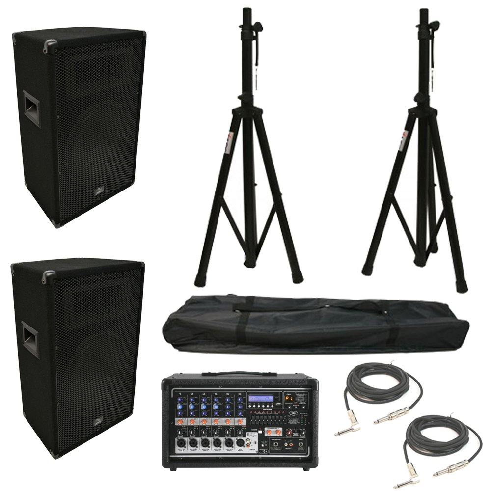 (2) Harmony HA-V12P 12'' DJ PA Speaker Peavey PV 6500 Powered Mixer Cables Stands