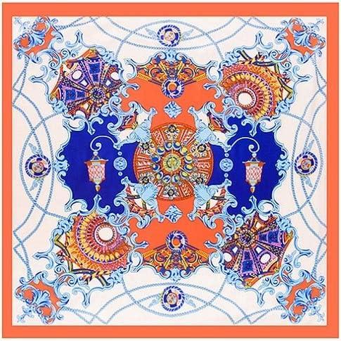 LYDHWK Nueva Bufanda Cuadrada de Hijab Mujeres Palacio de España Paisley Pañuelos de Seda de satén Suave Pañuelo en la Cabeza Venta al por Mayor del mantón del Abrigo 90x90cm Naranja: Amazon.es: