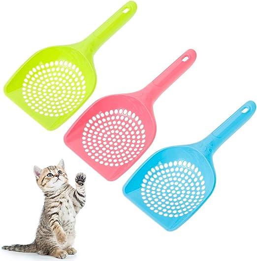 Yorgewd - Juego de 3 Palas para Arena de Gatos Perros Mascotas,Recogedor de Caca con Colador de Plástico Fácil para Limpiar (rosa, azul, verde): Amazon.es: Productos para mascotas